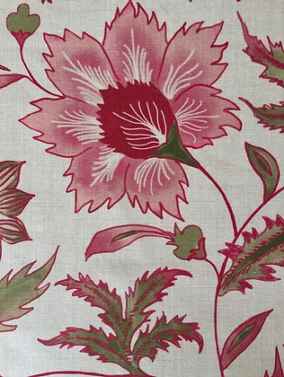 FLORAL SCROLL Pink Oyster Linen