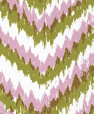 Tillett Textiles Ikat Timer Forest Moss & Pink Pansey