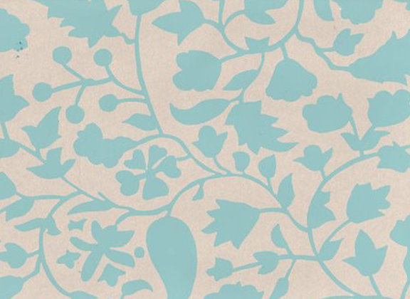 Mally Skok Rohet Wallpaper Turquoise (on Neutral)