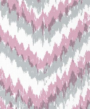 Tillett Textiles Ikat Timer Metallic Silver & Pink Pansey