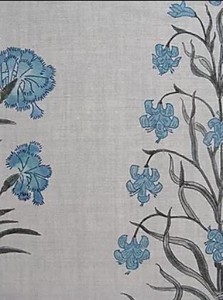 MUGHAL FLORAL Blue UK Natural Linen