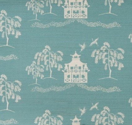 CASA BY P.C. Spring Pagoda Grasscloth in Sea Glass