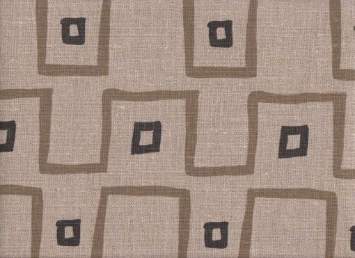 Mally Skok Kuba Cloth Taupe-Charcoal on Flax