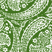 Newman Paisley Forest Green on White