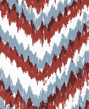 Tillett Textiles Ikat Timer JD Blue & Deep Coral