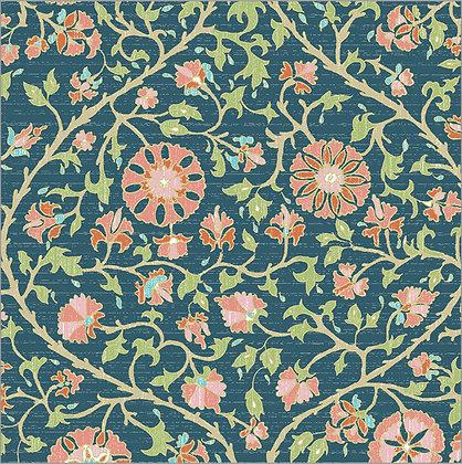 Ferran Textiles Wallpaper Urfa Navy Poppy