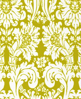 Tillett Textiles Floral Damask Charteuse