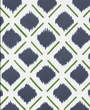 Tillett Textiles Chit Chat Lines Forest Green & Navy
