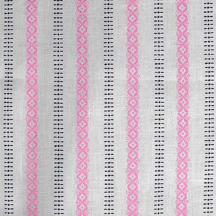 Madder Cutch & Co K-Blossom Stripe Burghley Blue & Flamingo on Natural