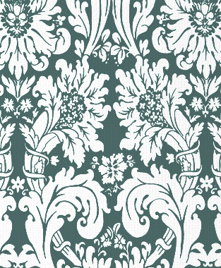 Tillett Textiles Floral Damask Deep sea