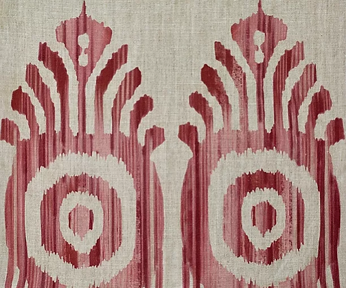 SERENA IKAT Pink & Red Oyster Linen