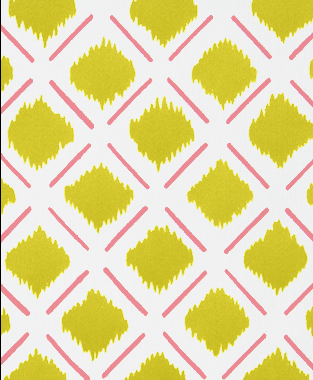 Tillett Textiles Chit Chat Lines Sorbet & Charteuse
