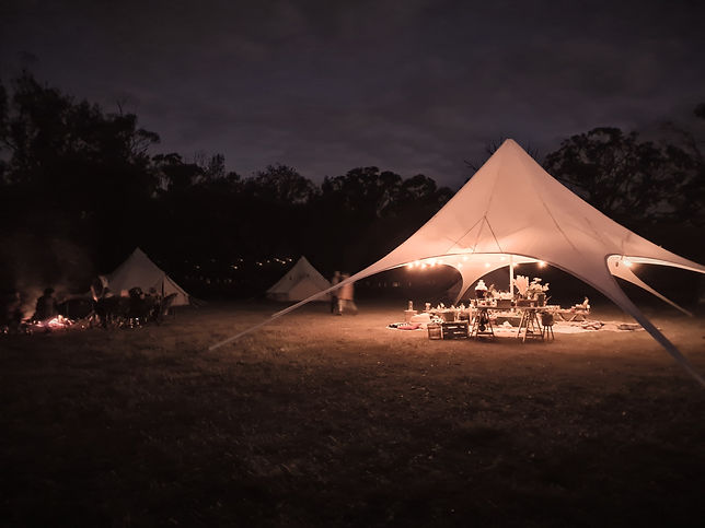 Event & Party Hire Tent set up by Tent Pegs Autralia at night during a group escape in Booborowie, South Australia