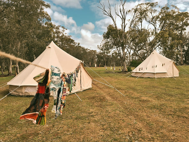 Bell Tent Village created by Tent Pegs Australia for an event at a winery