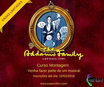 Curso Montagem de Ferias de Teatro Musical baseado no musical A FAMILIA ADDAMS. Turma ADULTO
