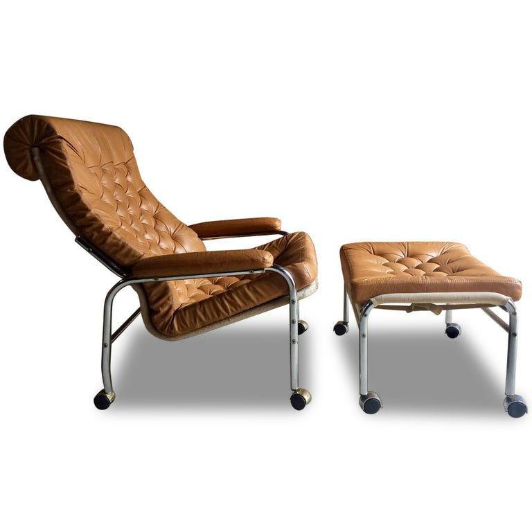 Prime Noboru Nakamura For Ikea Bore Lounge Chair Footstool Leather 1970S Machost Co Dining Chair Design Ideas Machostcouk