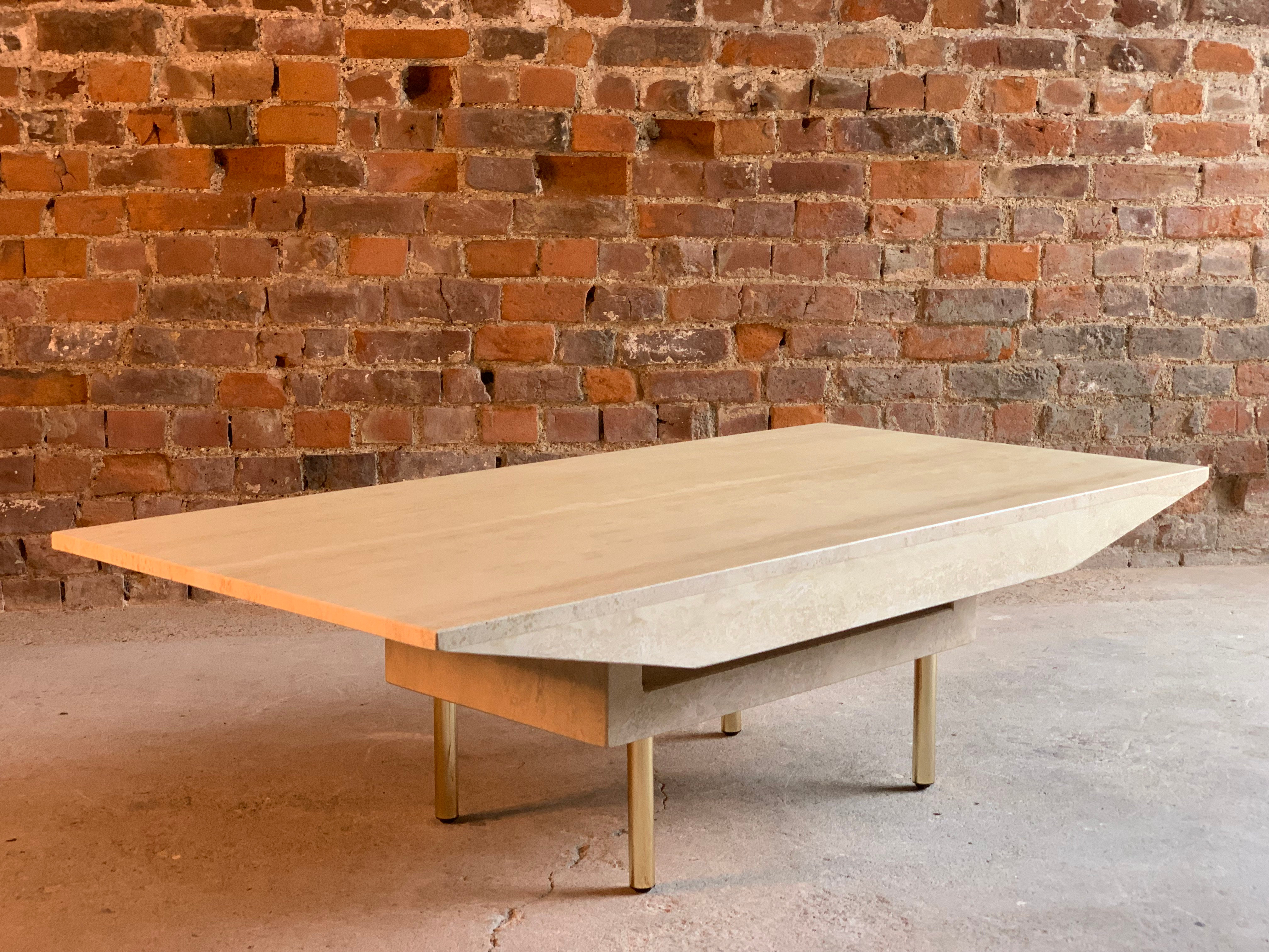 Italian Travertine Marble Coffee Table Rectangular Shaped Sides On