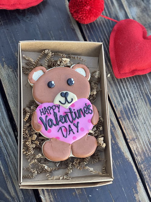 Valentine bear single cookie