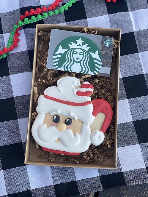 Santa Starbucks gift card and cookie set