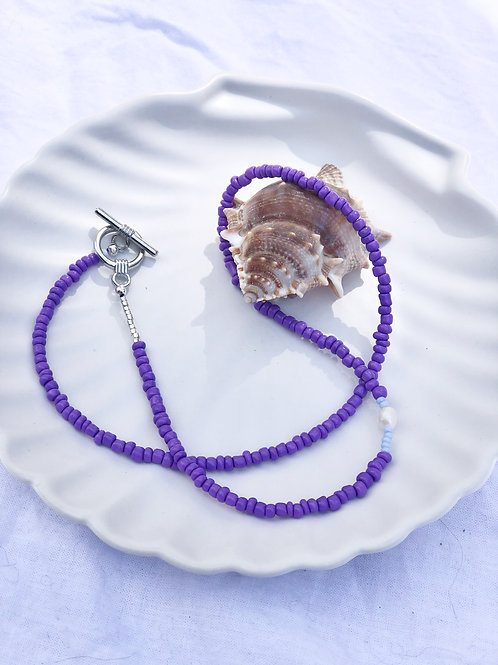 Necklace pearl/purple