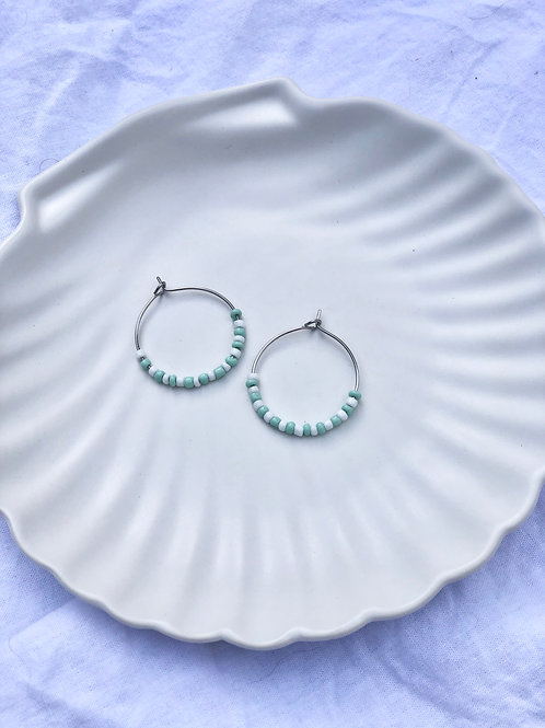 Earrings white/mint