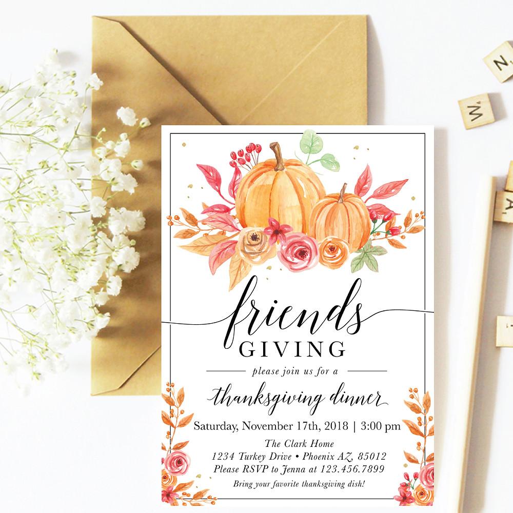 Thanksgiving Invitation, Thanksgiving Invitation, Thanksgiving, Invitation, Friendsgiving, Thankful, Grateful, Friend Party