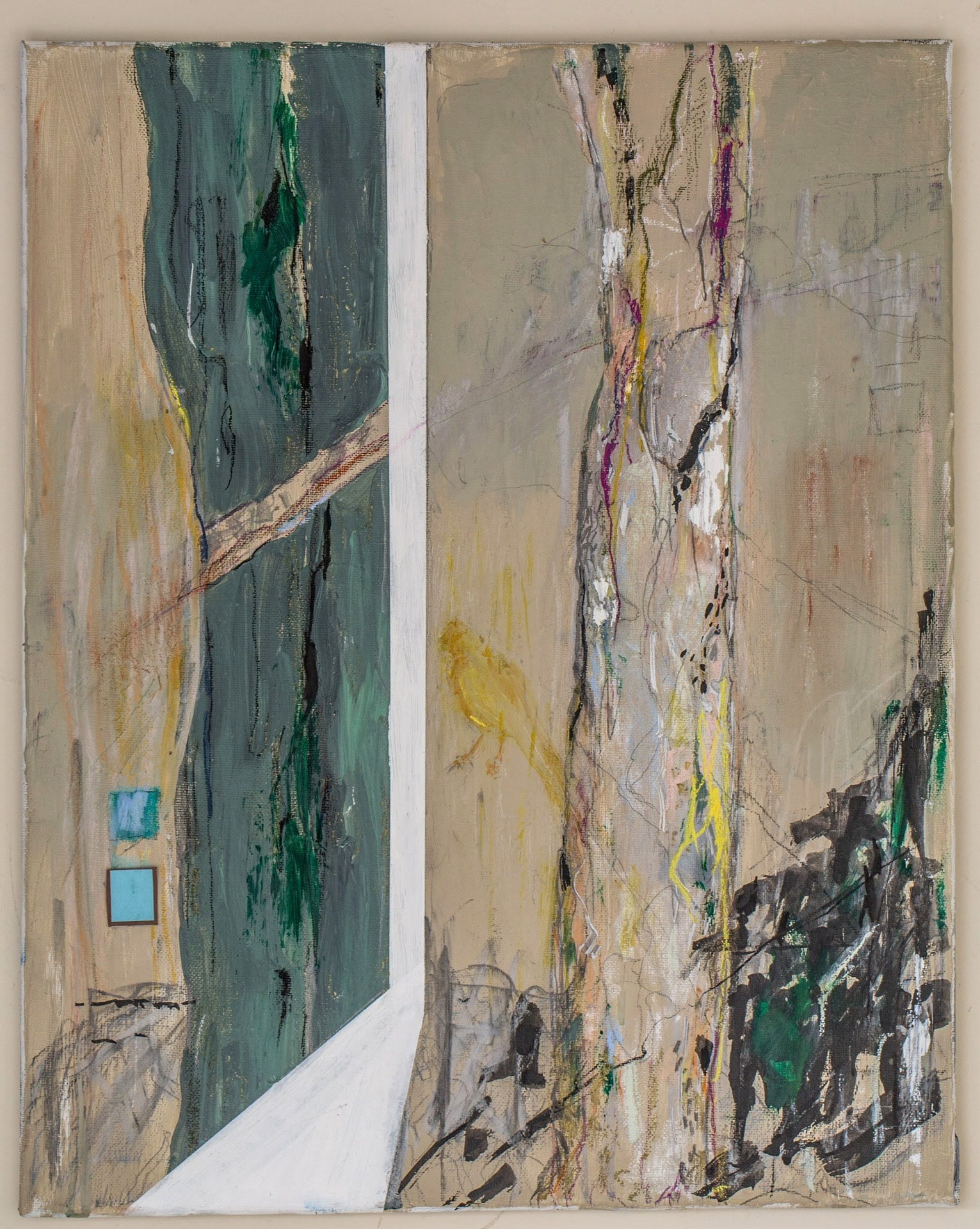 "Untitled, 2018 Acrylic, pastel, on canvas 16"" x 20"""
