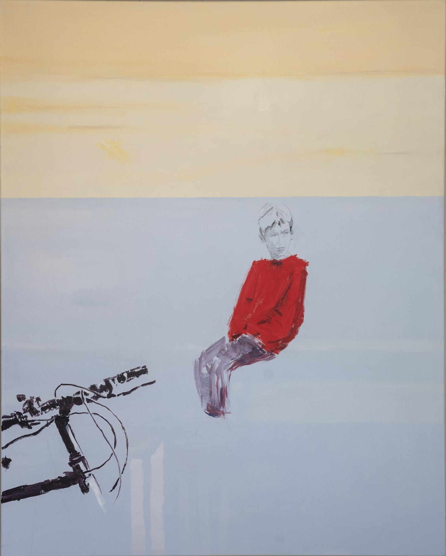 """Red boy, 2018 Acrylic, pencil, on canvas 48"""" x 60"""""""