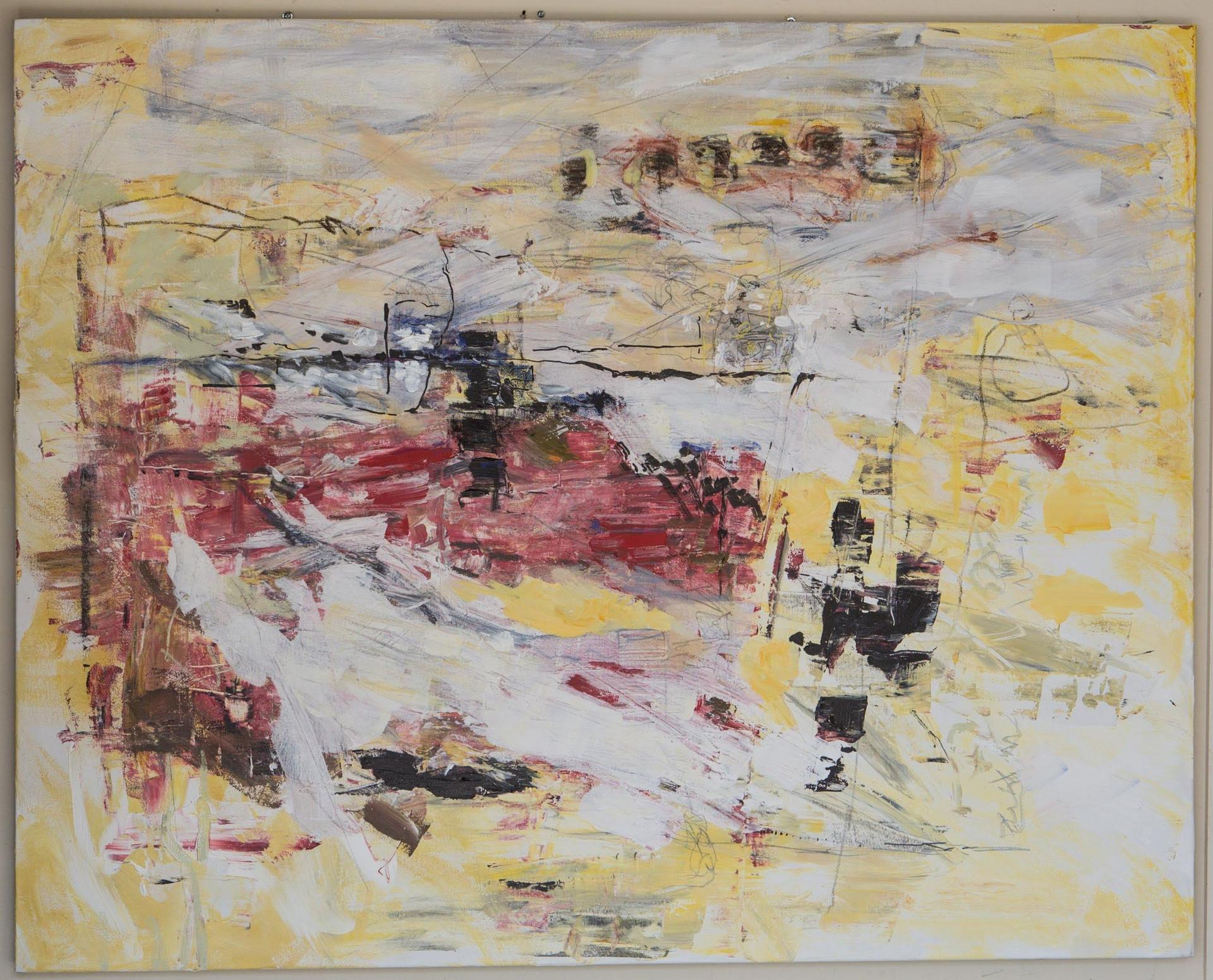 "Untitled, 2017 Acrylic, pencil, on canvas 60"" x 48"""