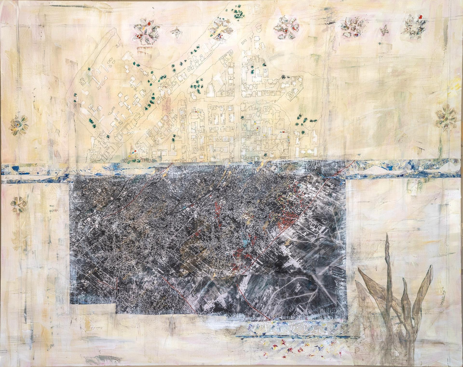 """Gaza, 2017 Mixed media, on canvas 60"""" x 48"""""""