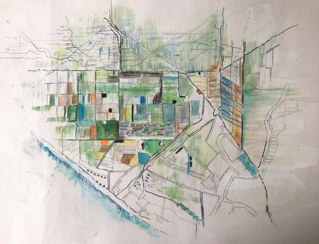 "Oxnard, 2015 Pencils, on paper 16"" x 12"