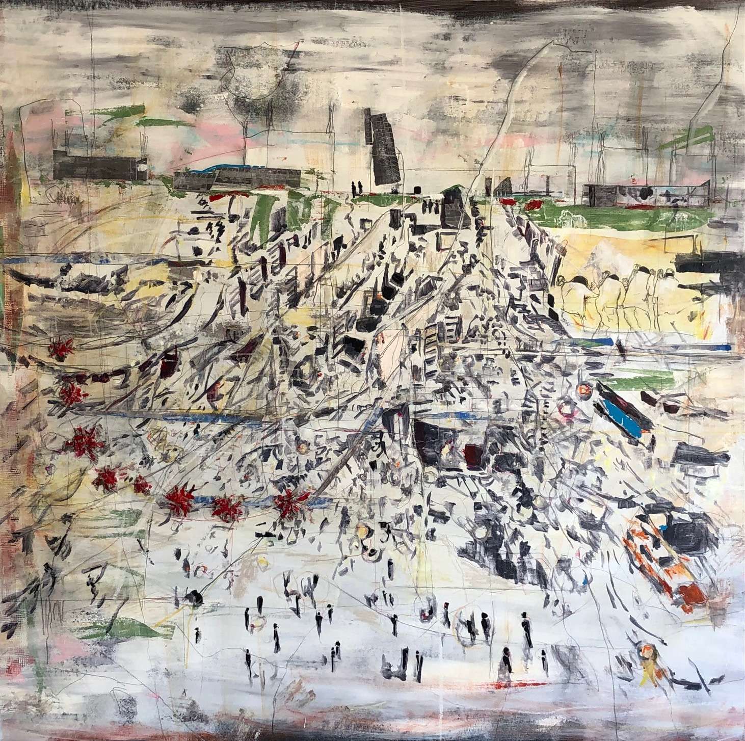 """It was worse then. It is worse now. 2021 Mixed media, on canvas. 50""""x65"""""""