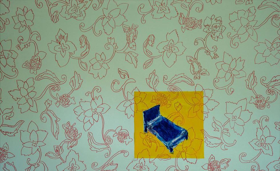 """How to sleep, 2019 Acrylic, marker, on canvas 57"""" x 35"""""""