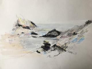 "Pencils, watercolor, on paper 16"" x 12"""