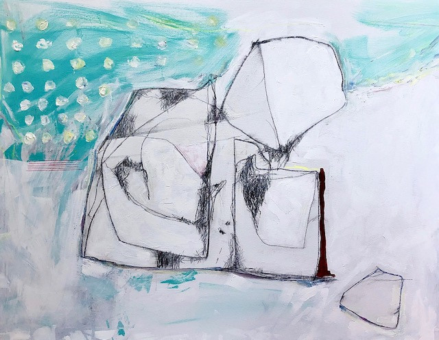 """Equilibria, 2020 40""""x30"""" $2,350 Acrylic, pencil, oil, on canvas"""