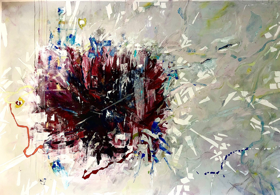 """My cancelled plans, 2020 74"""" x 50"""" Mixed media on canvas"""