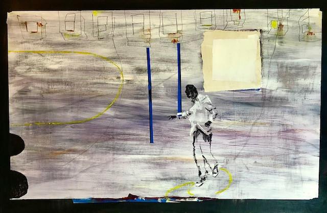"Untitled, 2021 Acrylic, pencil on Birch frame 36""x24"""
