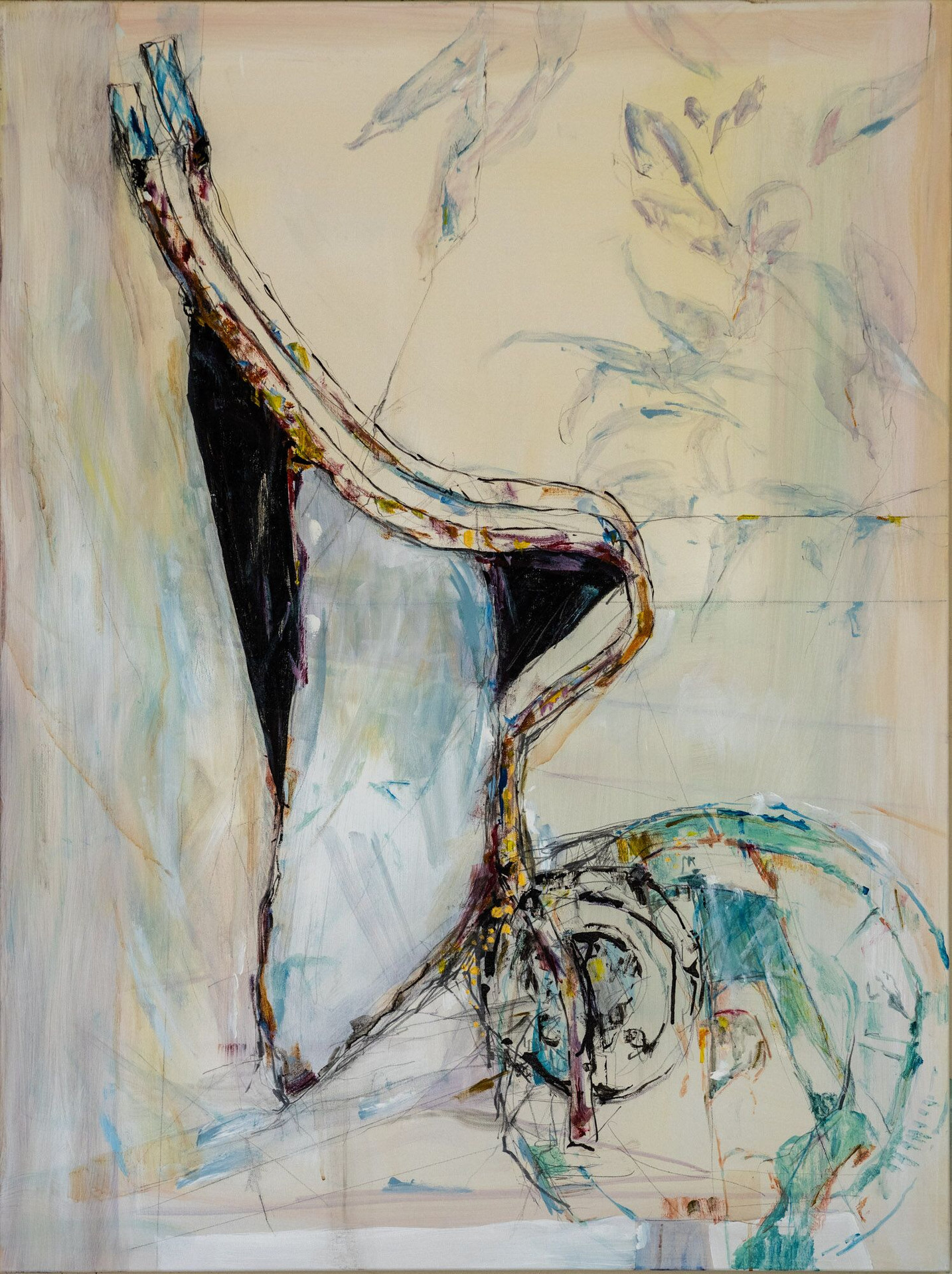 """Surrender: Side view, 2020 Acrylic, pencil, pastel, on canvas 36"""" x 48"""""""