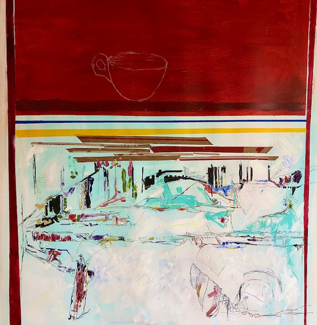 "Alabaster cup, 2020 48""x48"" Mixed media, on canvas"