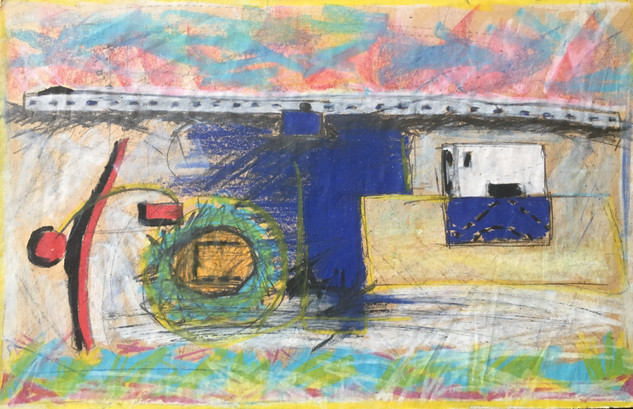 "Pastel, on paper, 1987 12.5"" x 8"""
