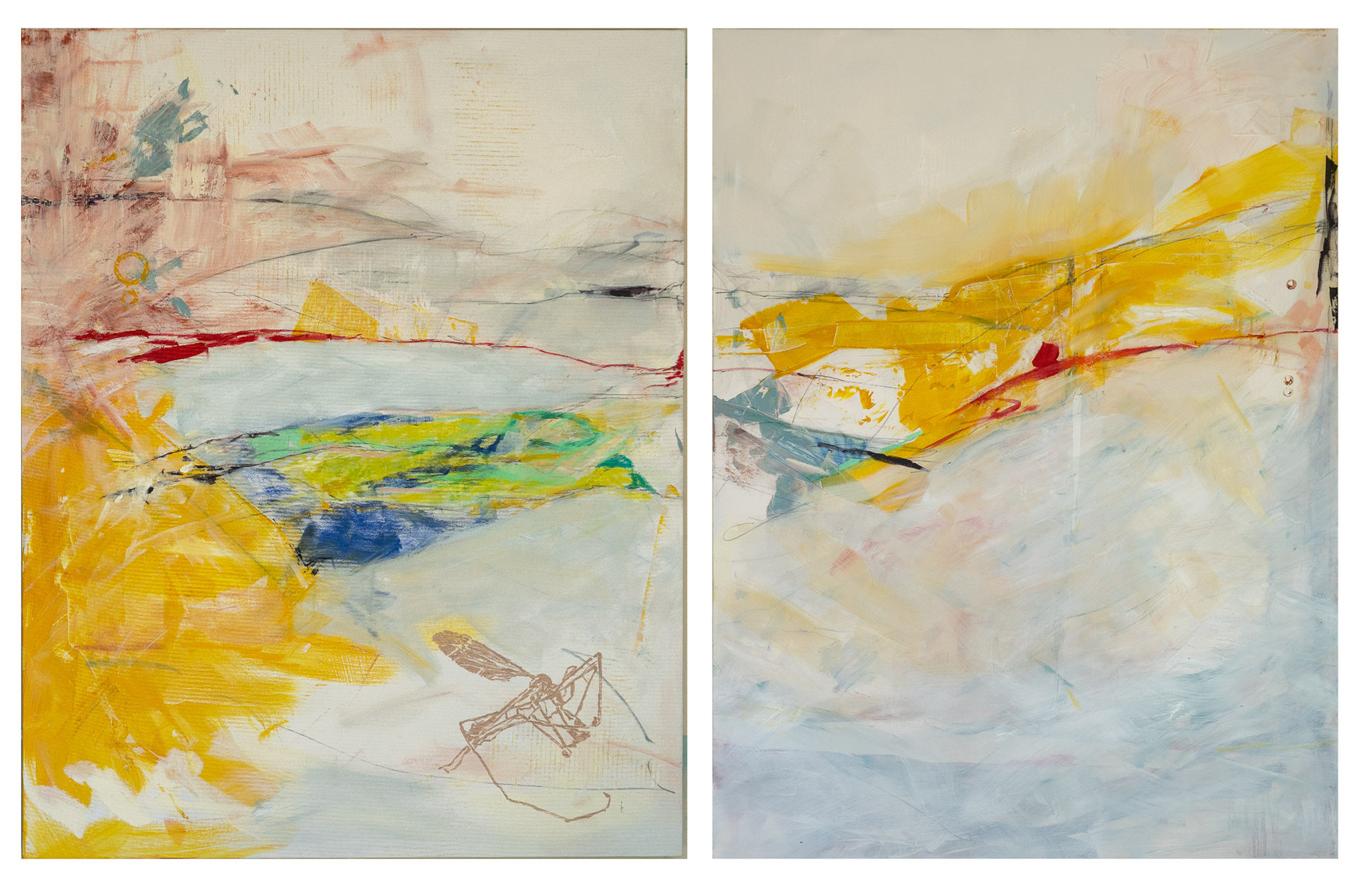 "Untitled, 2019 Acrylic, pastel, pencil, gold, on canvas 2-panels, 36"" x 48"" each"
