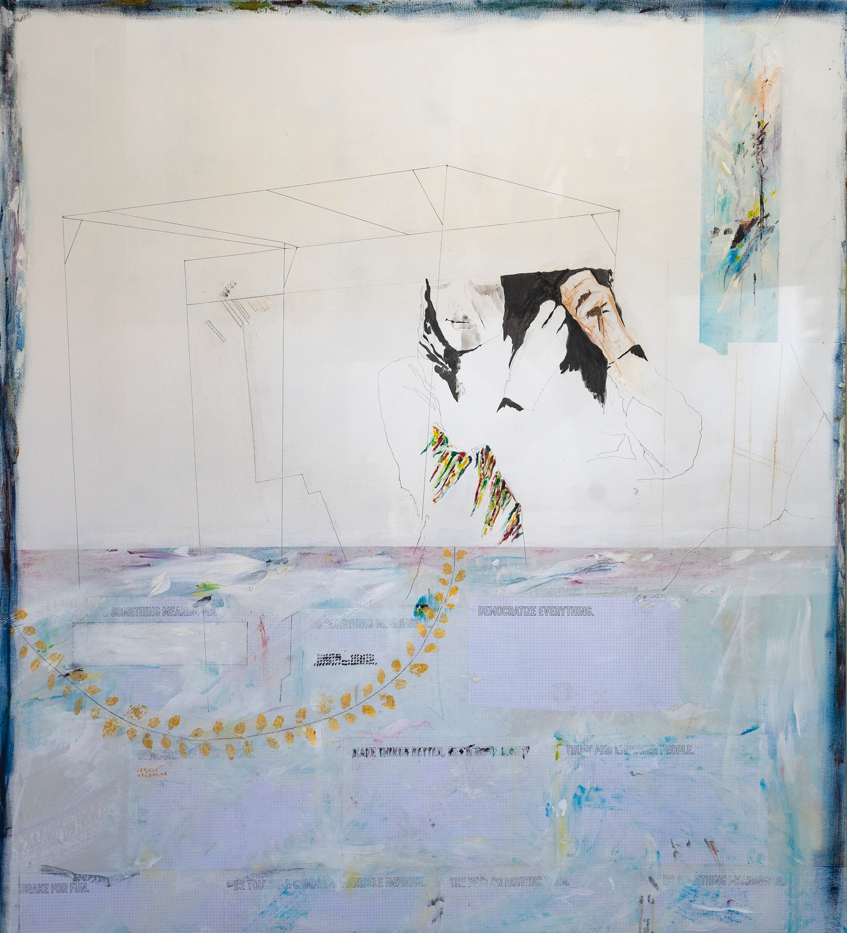 "Razan, 2018 Mixed media, on canvas 56"" x 62"""