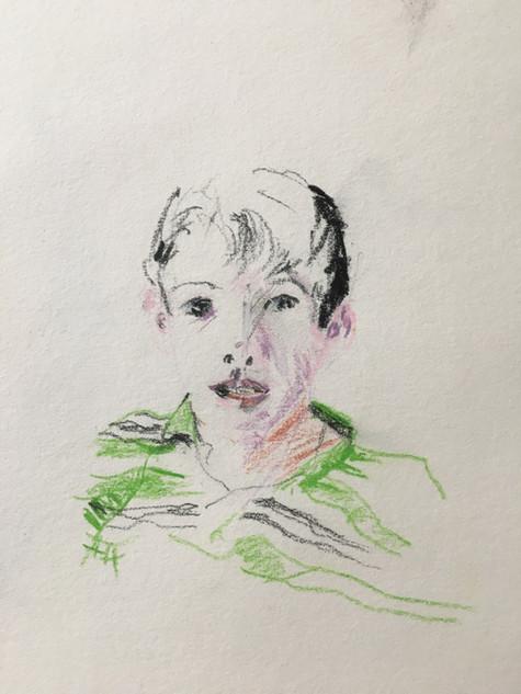 "Mauri, 2013 Pencils, on paper 6"" x 9"""