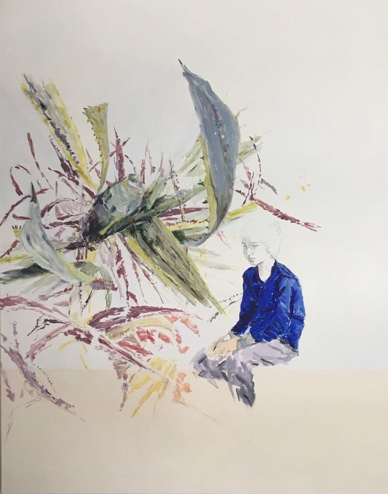 "Blue Boy, 2018 Acrylic, pencil, on canvas 48"" x 59"""