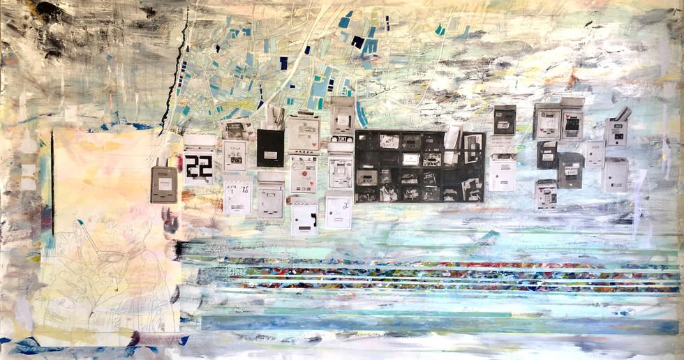 "Tel Aviv, 2018 Mixed media, on canvas 82"" x 49"""
