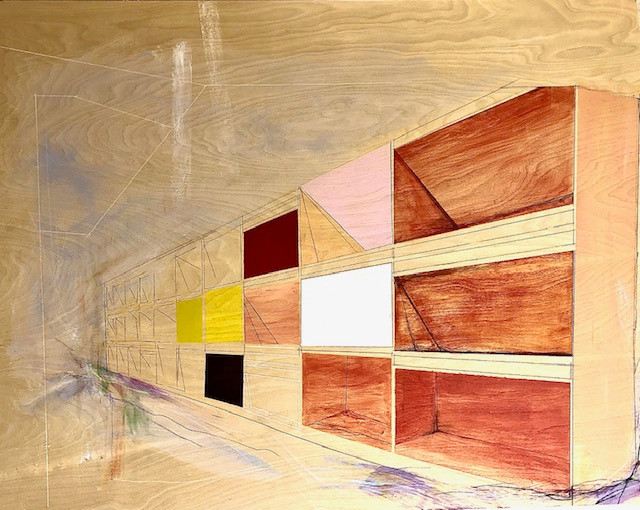 "A place for everything, 2020 48""x36"" Acrylic, pencil, on wood After Donald Judd's ""Untitled"", 1980"