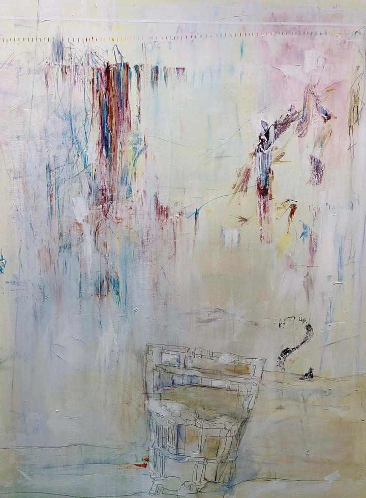 "Untitled I, 2020 36"" x 48"" Acrylic, pencils, oil, on canvas"
