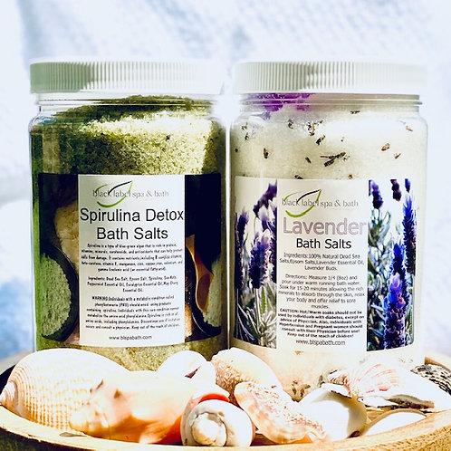 Spirulina Detox & Lavender Bath Salt Duo (32 oz ea)w/Jute Gift Bag