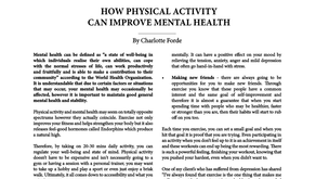How Physical Activity Can Improve Mental Health