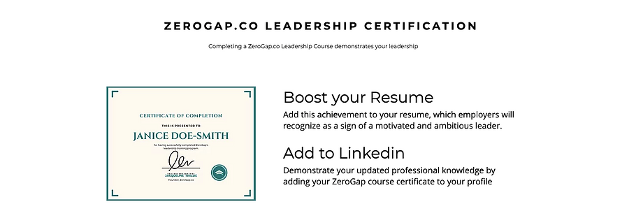 CERTIFICATION LEADERSHIP FOR ZEROGAP.CO.